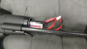Tenergy 11.1v stick with Deans plug inserted in a Classic Army Nemesis tube
